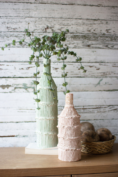 Set Of Two Tall Clay Art Bottles