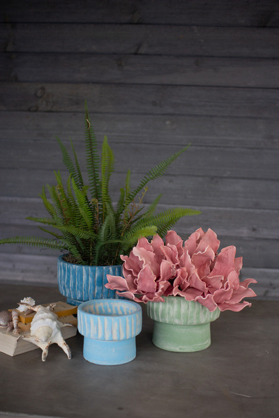 Set Of Three Clay Seaside Flower Pots