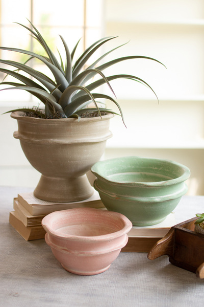 Set Of Three Clay Bowl Planters