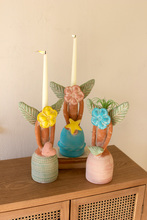 More about the 'Set Of Three Painted Clay Flower Angel Taper Candle Holders' product