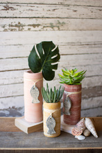 More about the 'Set Of Three Clay Cylinder Planters With Fish Charms' product
