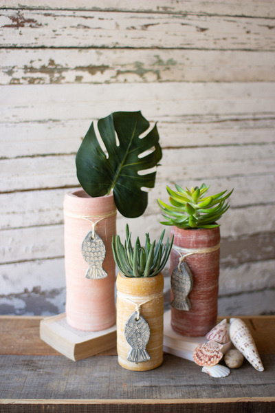 Set Of Three Clay Cylinder Planters With Fish Charms