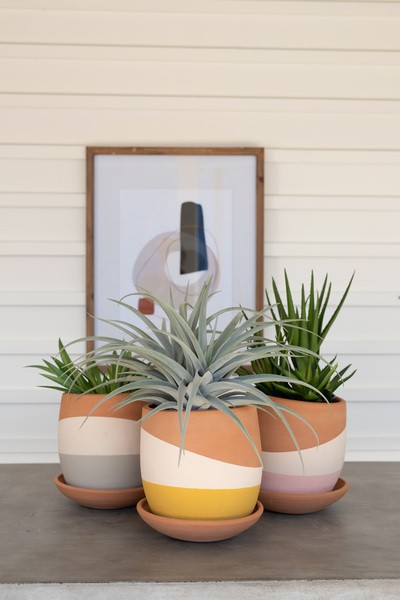 Set Of Three Color Dipped Clay Pots With Clay Saucers