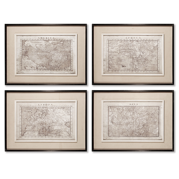 Old Map Prints Set Of 4 American Country