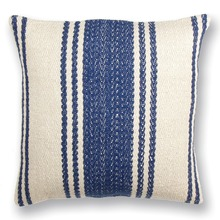 Hampton Square Blue and Natural Stripe Pillow