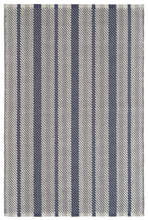 Herringbone Stripe Navy Woven Cotton Rug