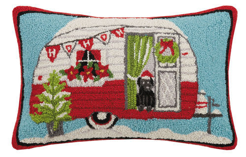 Holiday Camper Hooked Pillow