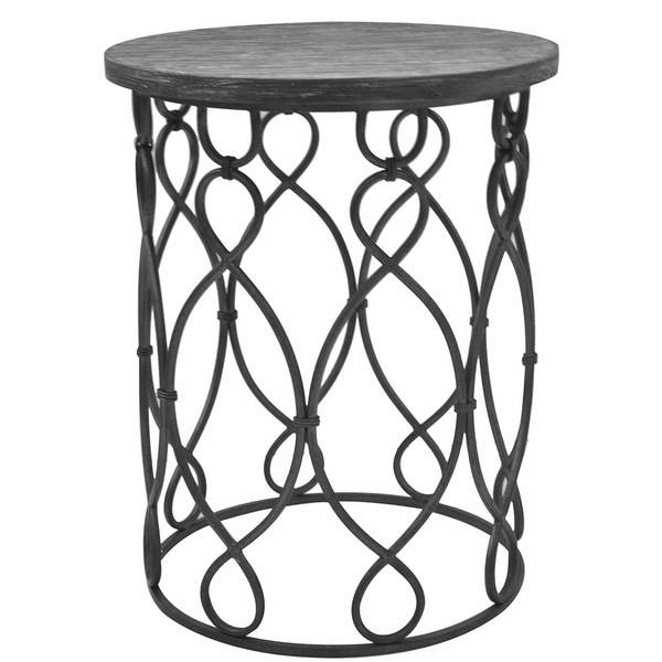 Wood and Metal Round Occasional table
