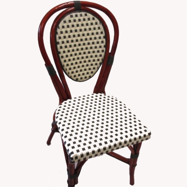 Ivory/Green Square Pattern, Honey Frame Rattan Chair
