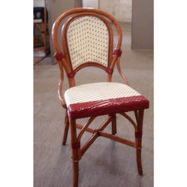 Marais Bistro Rattan Chair with Red Border