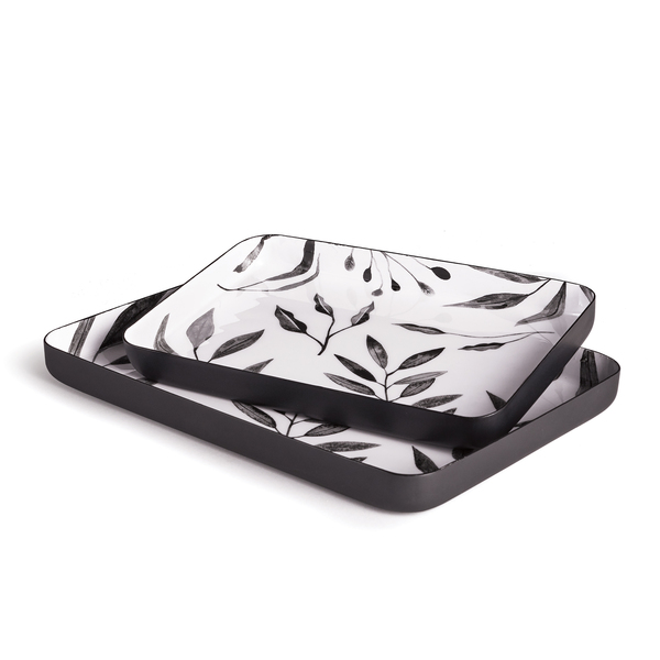 Leaf Rectangular Trays, Set Of 2