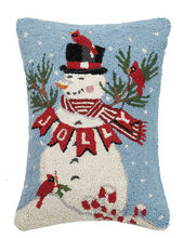 Jolly Snowman Hooked Rug