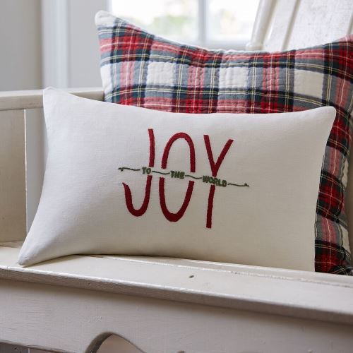 Joy To the World Embroidered Pillow by Taylor Linens