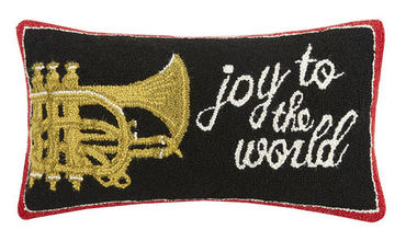 Joy to the World Hooked Pillow