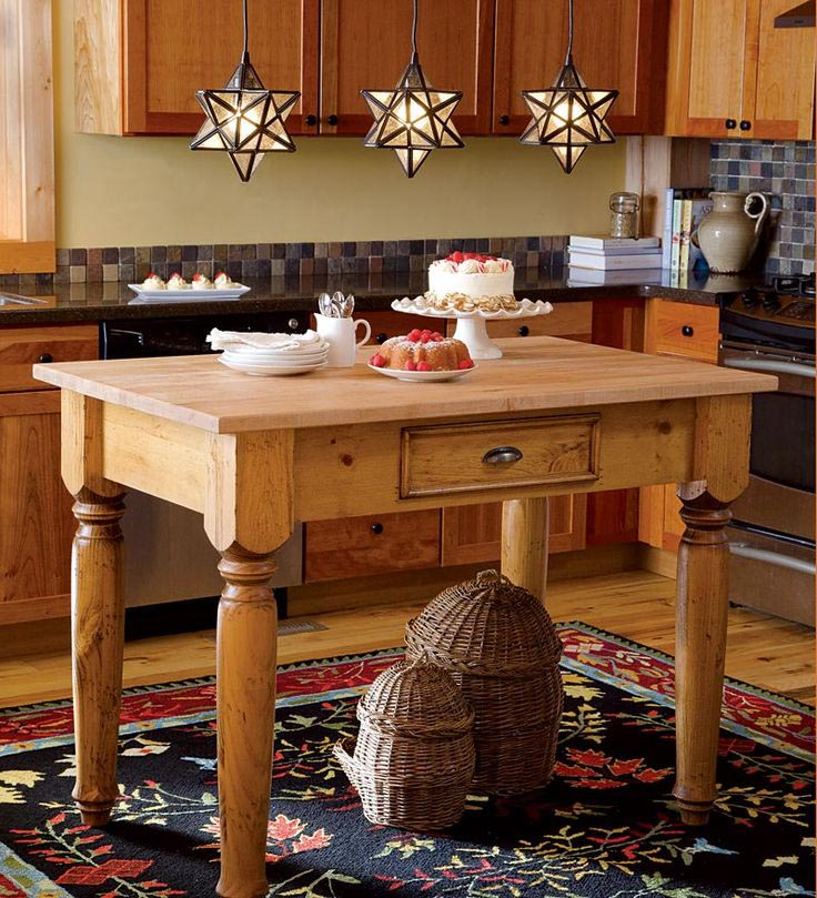 Southern Pine Free Standing Kitchen Island American Country