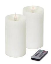 "More about the 'Simplux LED Pillar Candle w/Moving Flame (Set of 2) White 3"" x 5""' product"