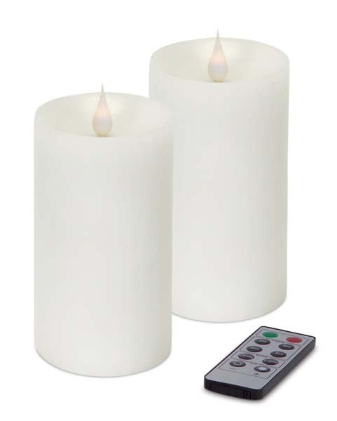 "Simplux LED Pillar Candle w/Moving Flame (Set of 2) White 3"" x 5"""
