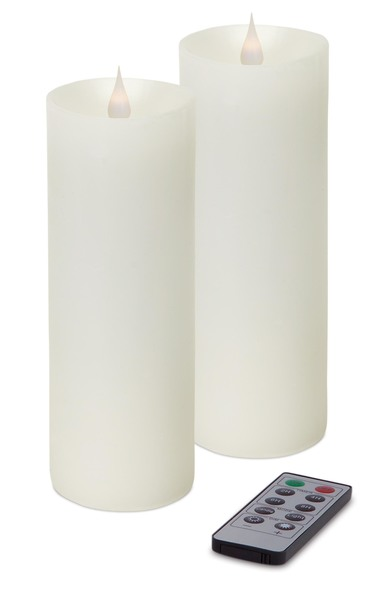 "Simplux LED Pillar Candle w/Moving Flame (Set of 2 ) White 3"" x 7"""