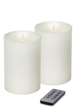 "Simplux LED Pillar Candle w/Moving Flame (Set of 2) White 4""W x 5""H"