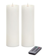 "More about the 'Simplux LED Pillar Candle w/Moving Flame (Set of 2) White 3"" x 9""' product"