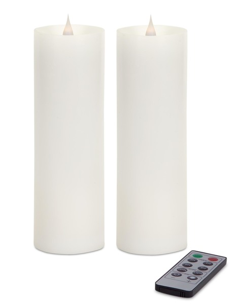 "Simplux LED Pillar Candle w/Moving Flame (Set of 2) White 3"" x 9"""