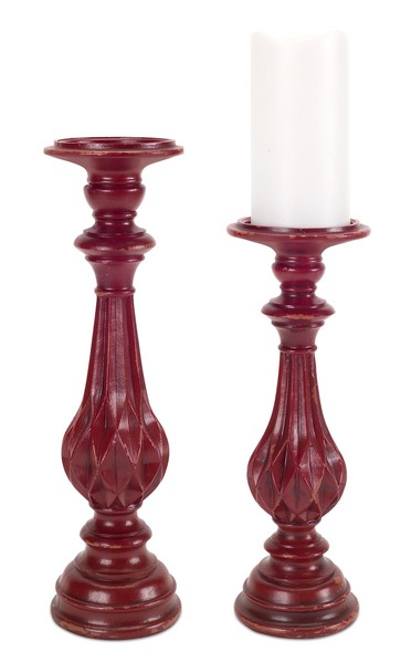 Candle Holders (Set of 2)  Red