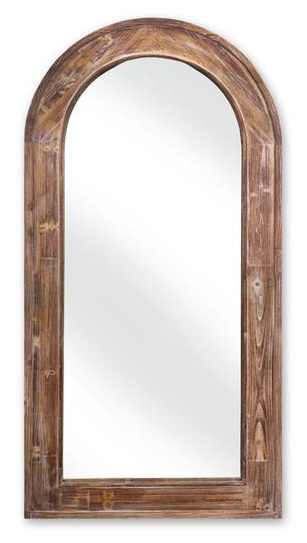 Arched Mirror w/Wood Frame Brown