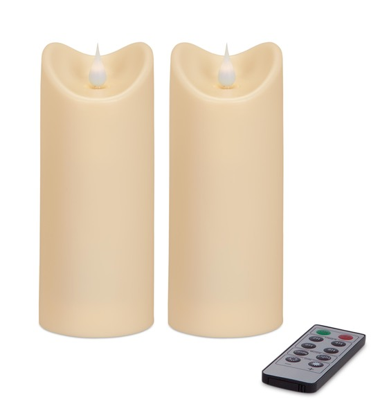 "Simplux Plastic Outdoor Candle w/Moving Flame (Set of 2 ) Ivory 2.75""W x 7""H"