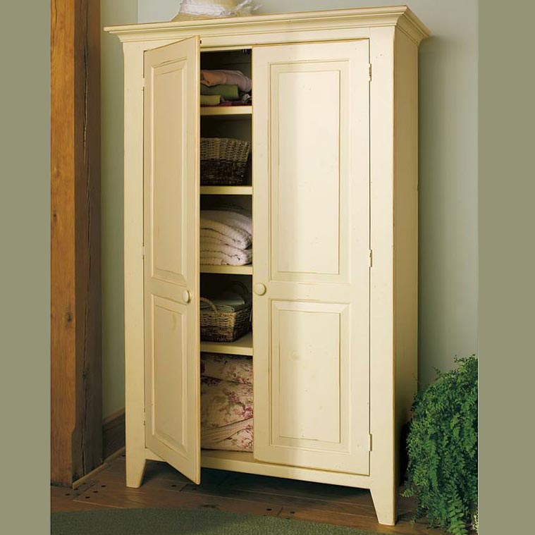Southern Pine Linen Cabinet   Ant. White