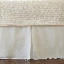 Linen Voile White Pleated Bed Skirt