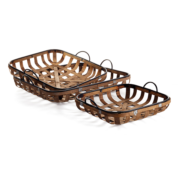 Riverbend Low Baskets With Handles, Set Of 3