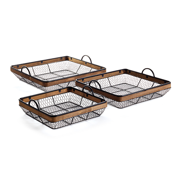 Mendocino Low Baskets With Handles, Set Of 3