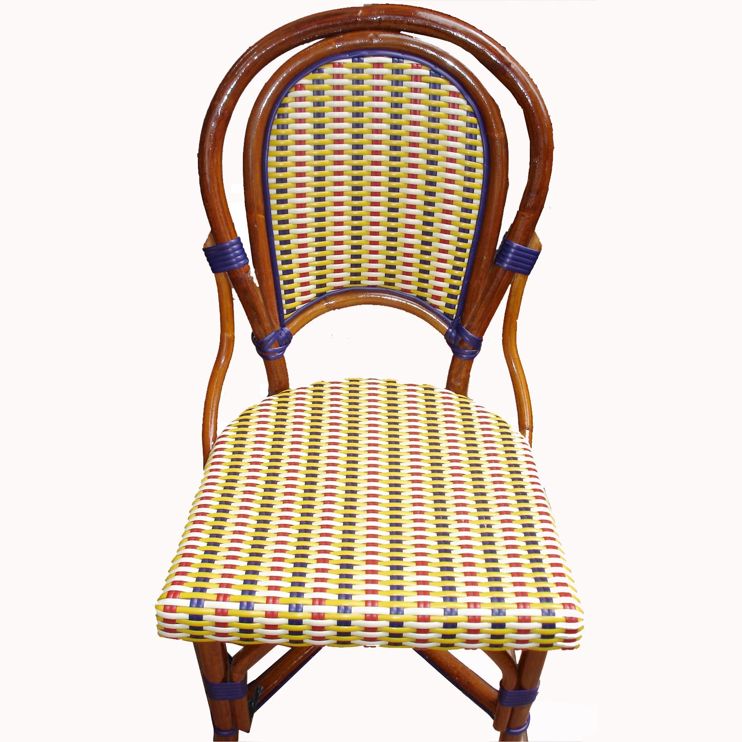 Bon Marais Rattan Chair Ivory/Red/Blu/Yell L1H2