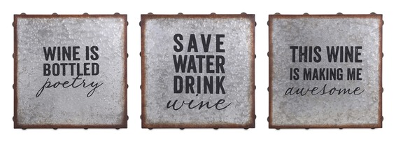 More about the 'Galvanized Wine Wall Decor - Set of 3' product