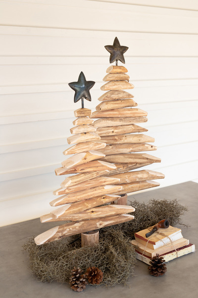 Set Of Two Recycled Wood Spinner Trees With Metal Stars