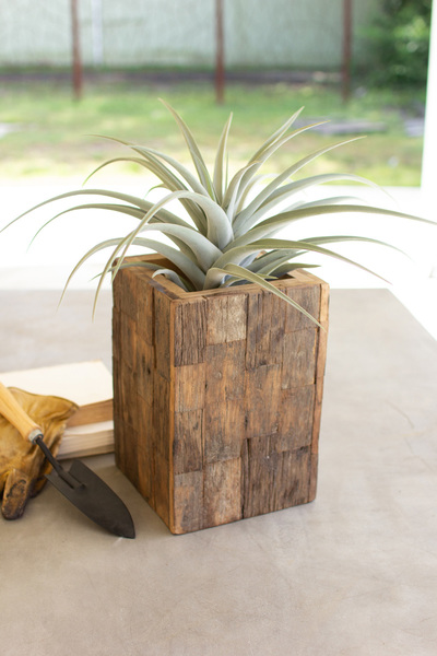 Rustic Recycled Wood Tall Rectangle Planter