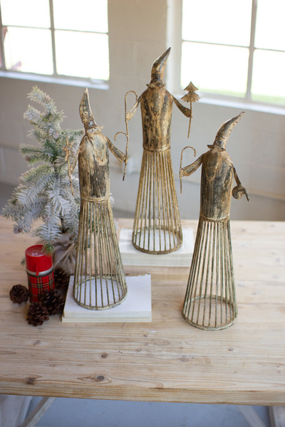 Set Of Three Metal Santas With Distressed White Finish