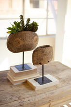 More about the 'Set Of Two Repurposed Wooden Cow Bell Planters On Iron Stands' product