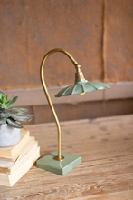 More about the 'Antique Brass Goose Neck Table Lamp With Enamel Shade' product