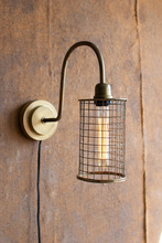 More about the 'Antique Brass Wall Lamp With Wire Mesh Shade' product