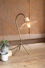 More about the 'Antique Brass Finish Table Lamp With Rattan Umbrella Shade' product