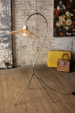 More about the 'Antique Brass Finish Floor Lamp With Rattan Umbrella Shade' product