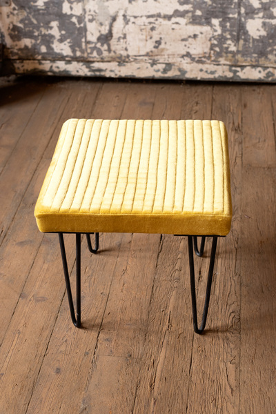 Velvet Stool With Channel Stitch Top & Iron Legs  -  Honey