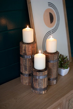 More about the 'Set Of Three Recycled Wood And Metal Candle Towers' product