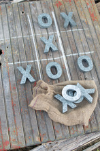 More about the 'Ten Piece Galvanized Tic-Tac-Toe Set In A Jute Bag' product