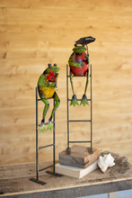 More about the 'Set Of Two Recycled Metal Frogs On Ladders' product