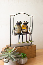 More about the 'Two Recycled Metal Frogs On A Swing' product