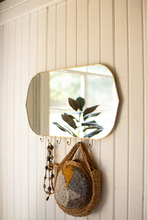 More about the 'Horizontal Oval Brass Framed Mirror With Six Hooks' product