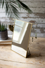 More about the 'Brass Framed Tabletop Mirror With Jewelry Hooks' product