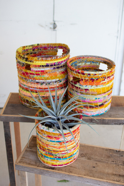 Set Of Three Recycled Kantha Hampers
